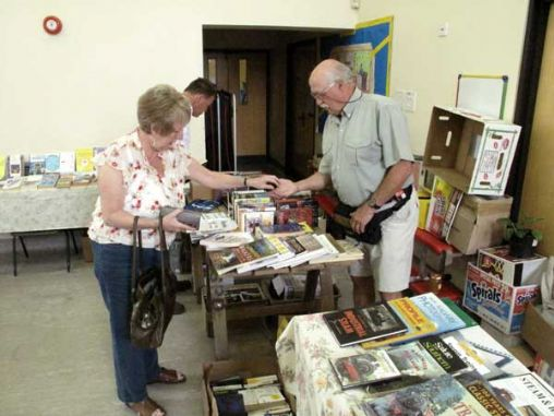 Barry Petterson, Vice Chairman of CFO on the book stall at the first fund raising event