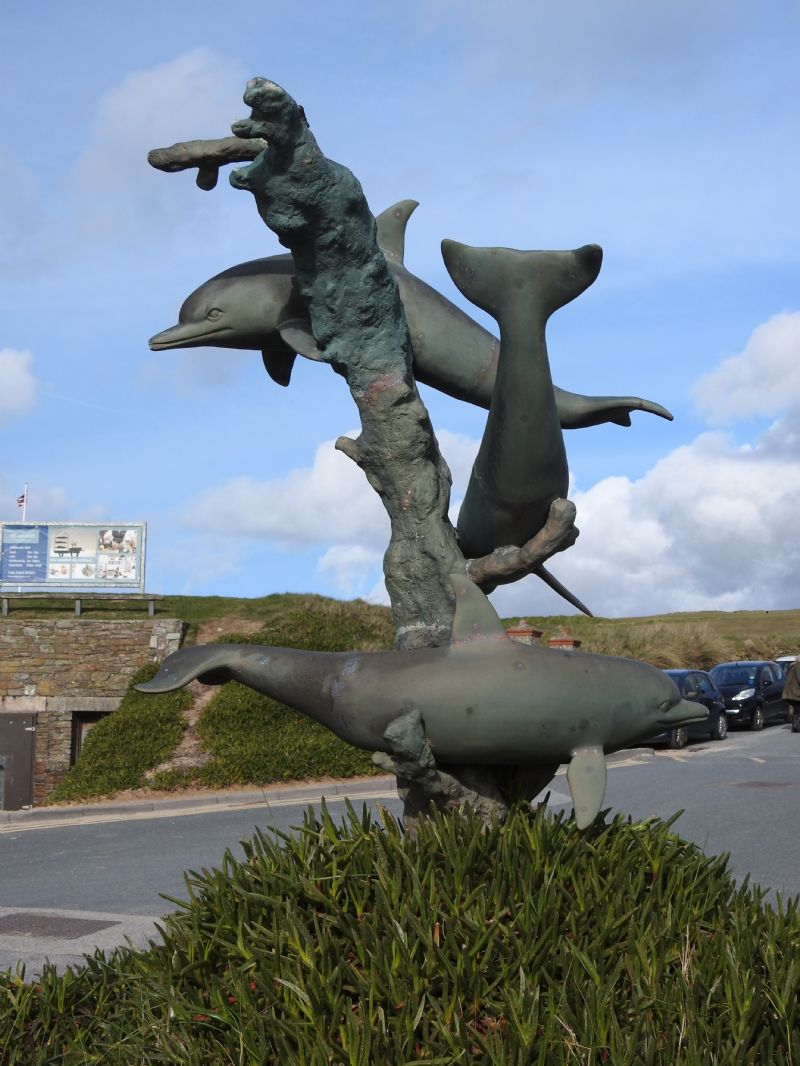 Dolphin Statue at Fistral Beach