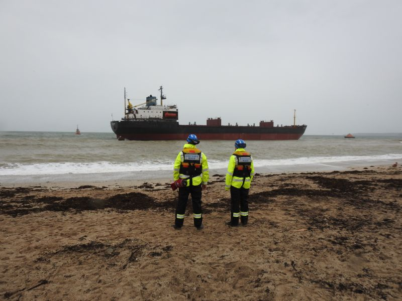 Russian Ship Stranded on Cornish Beach