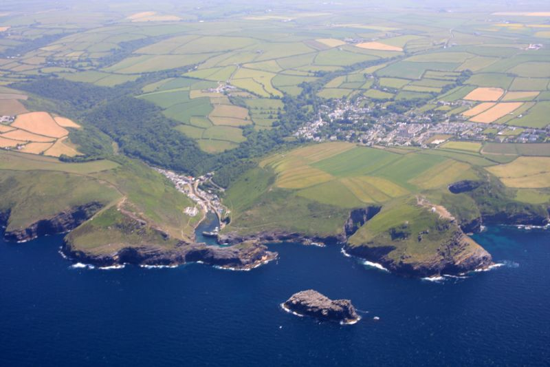Boscastle and its harbour from the air