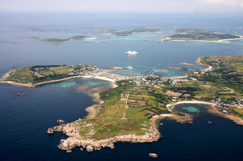 St Mary's Isles of Scilly with Bryher and Tresco in the background