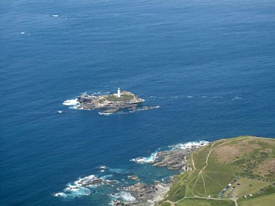 Godrevy Island and Lighthouse from the air