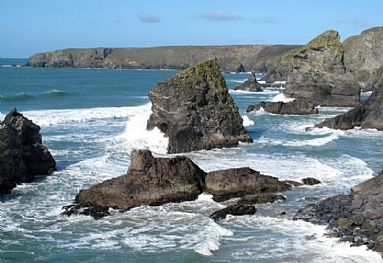 Bedruthan Steps in February