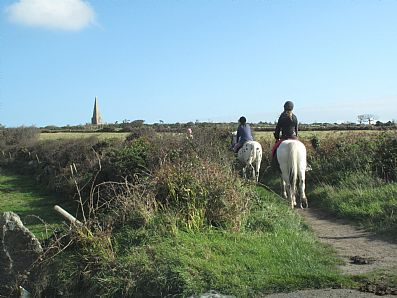 Horse riding on St Michael's Way near Knill's Monument near St Ives