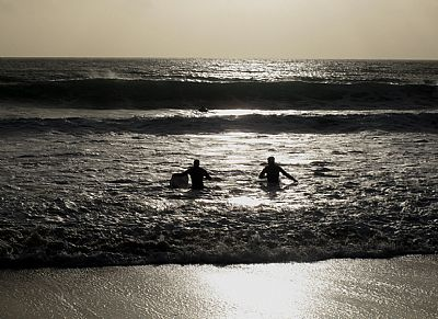 Evening surfing in Winter at Praa Sands