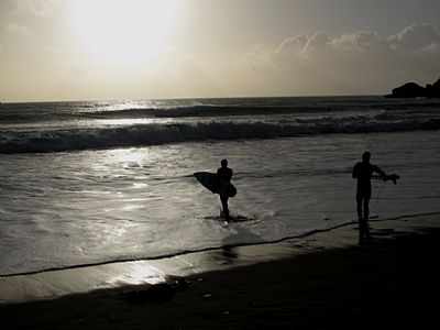 Praa Sands - surfing in January 2013