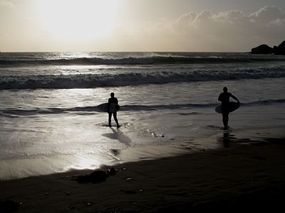 Surfing at Praa Sands in January 2013