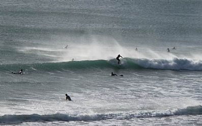 Surfing at Praa Sands in February 2013