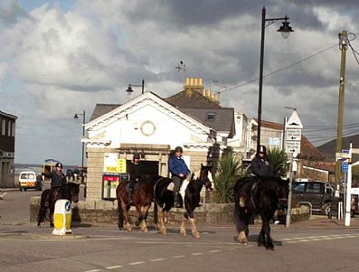 Horse riders in Perranporth