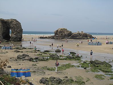 Perranporth Beach with its rock arches