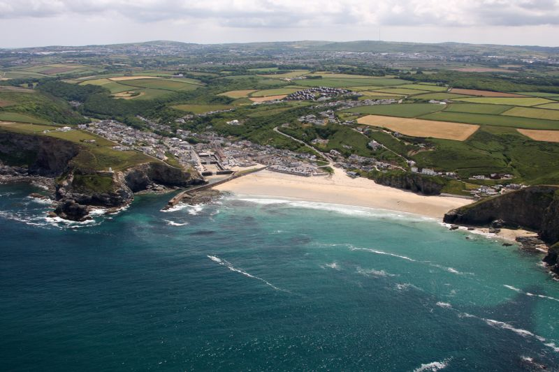 Portreath Beach and harbour with Western Hill