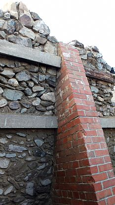 Modern Buttress supporting a wall of St Piran's Oratory