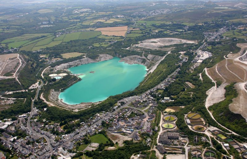An Aerial View of Bugle in the Heart of the China Clay District