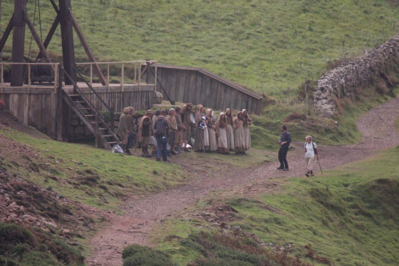 Poldark Extras in Period Costume during Filming at Botallack