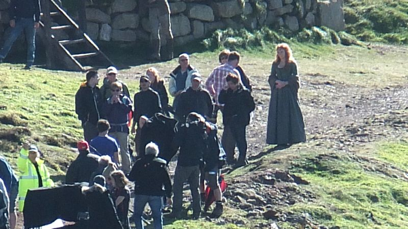 Eleanor Tomlinson on location at Botallack during the filming of Poldark