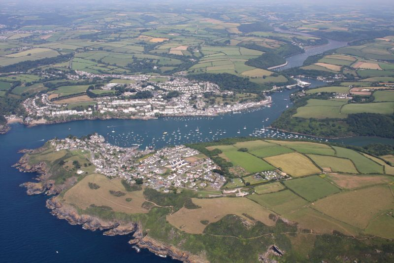 Fowey, Polruan and the River Fowey from the Air