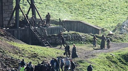 Aidan Turner and Eleanor Tomlinson during filming at Botallack