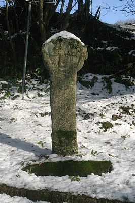 Round headed Cross in Snow at Blisland