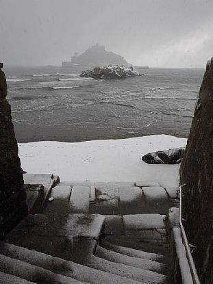 Snow Covered Marazion and St Michael's Mount