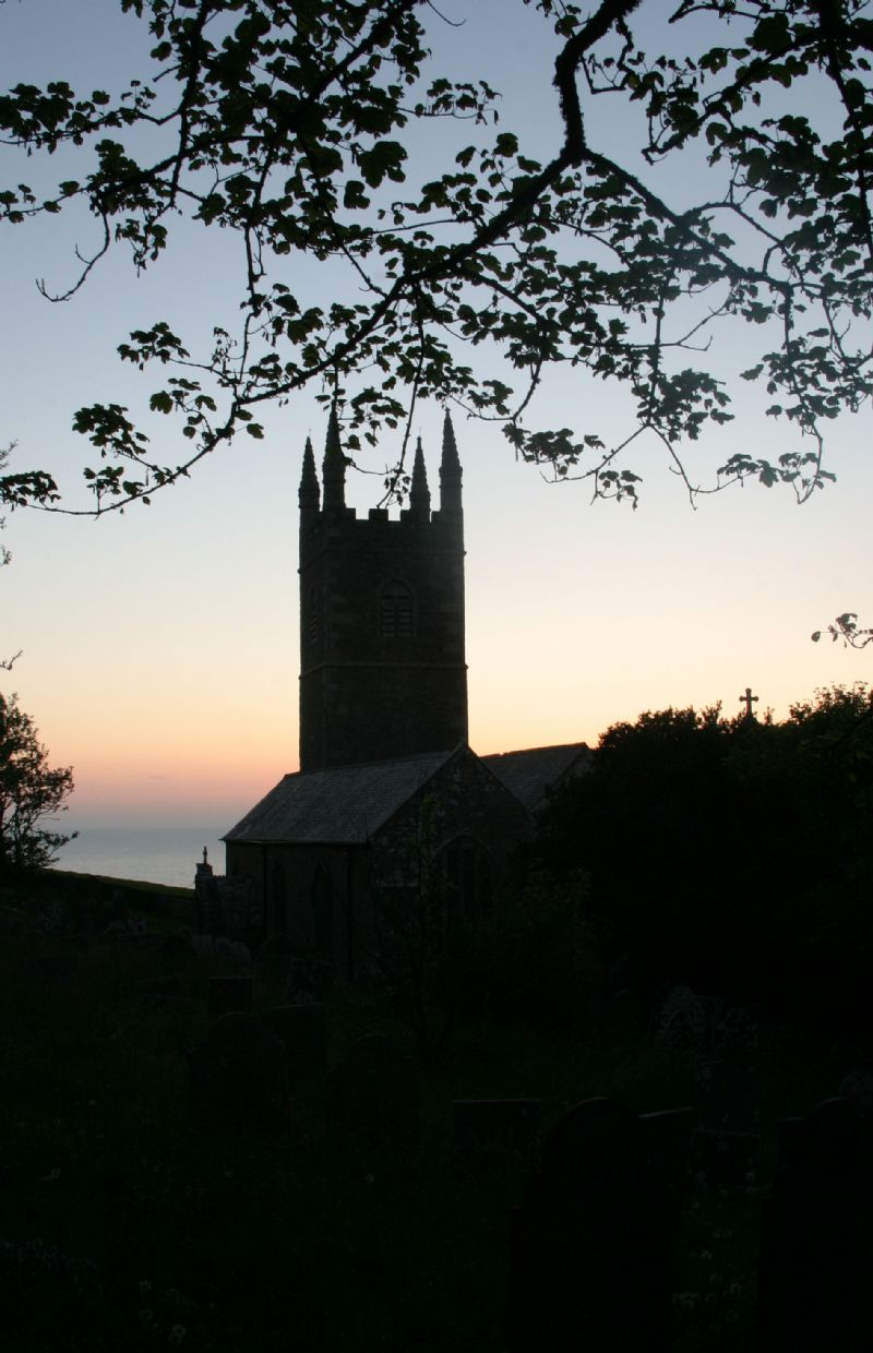 Morwenstow Church looking seawards at dusk