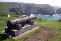 Cannon above Mullion Cove