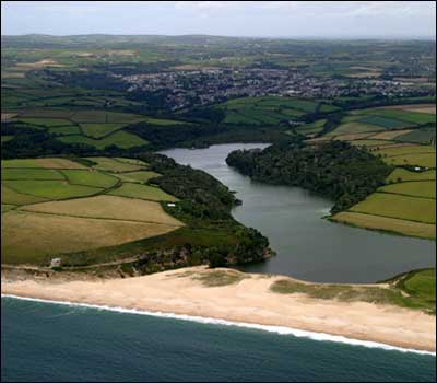 Loe Bar and Loe Pool from the Air