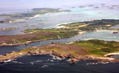 St Martin's lies beyond Bryher and Tresco