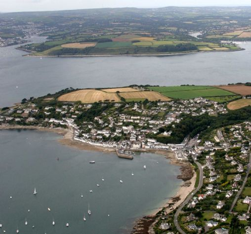St Mawes beaches and harbour from the air