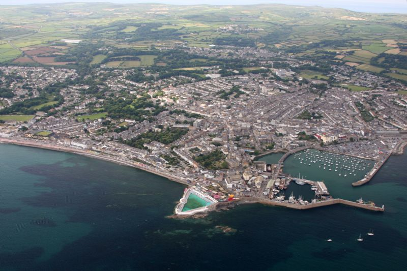 Penzance, its harbour and Jubilee Pool area from the air