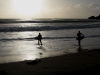 Praa Sands Beach - Evening surfing in January 2013