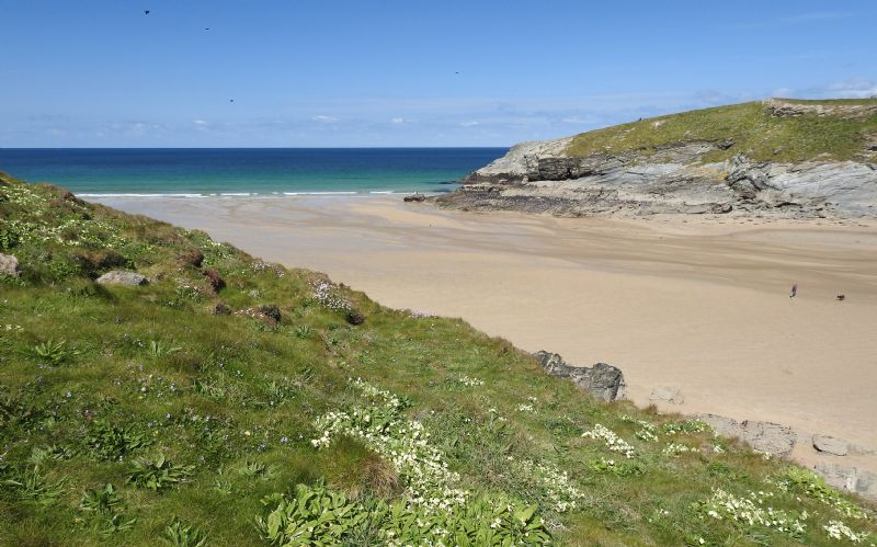 Porth Beach and Trevelgue Head