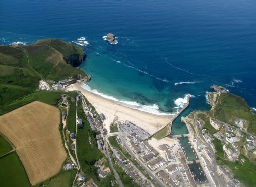 Portreath beach and harbour