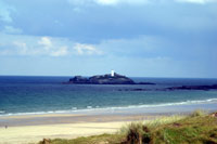 Gwithian Beach and Godrevy Lighthouse, Cornwall