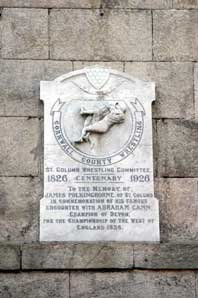 Commemorative plaque to James Polkinghorne, Cornish Wrestler