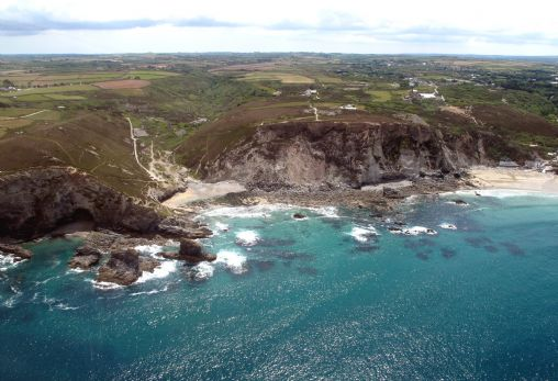 St Agnes from the air - Trevaunance Cove and Trevellas Porth