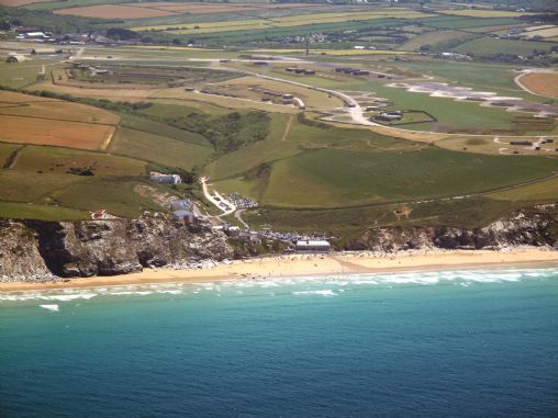 Watergate Bay and its beach from the air