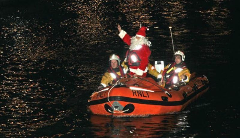 Santa arriving at St Ives  (St Ives in December)